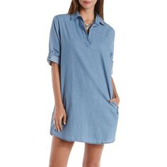 Charlotte Russe Chambray Collared Denim Chambray Shift Dress by... ($37) ❤ liked on Polyvore