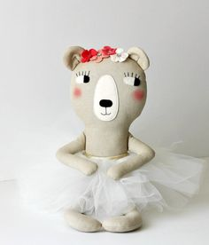 Made to order: Stuffed bear with a tulle skirt and coral flowers. Gift ideas for girls. Stuffed bear toy. Ballet bear. Ballerina bear
