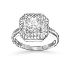 Rhodium Plated Ring with Square CZ | Bijou Boutik
