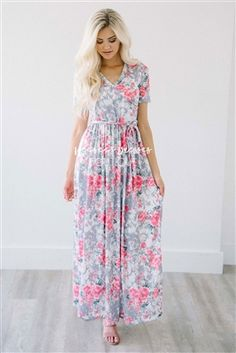 Gray Pink Tie Waist Maxi Modest Dress, Church Dresses, dresses for church, modest bridesmaids dresses, best modest boutique, modest clothes, affordable modest clothes, cute modest dresses, maxi dress, floral dress, dresses with sleeves