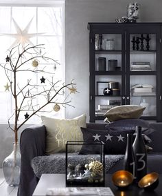 woonkamer - kerst - zwart, goud & zilver interieur - living - interior - styling - black , gold & silver - christmas