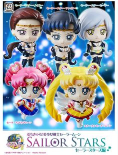 Official super cute Sailor Moon Petit Chara Sailor Stars figures! Shopping links here http://www.moonkitty.net/buy-sailor-moon-petit-figures.php