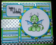 """Made by Maroeska: Moster Birthday card - Stamp by Tiddly Inks, """"Hello pet"""" set. Colored with Copic markers."""