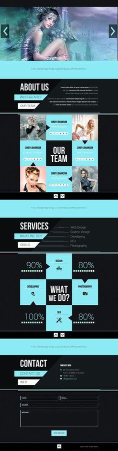 黑藍色 一頁式作品集網頁參考 | MyDesy 淘靈感