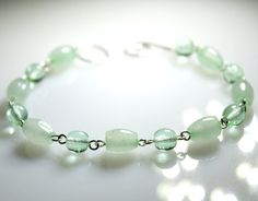 Mint - Green Bracelet New Jade Colored Nephrite Gemstone Glass Beaded Sterling Silver Bracelet