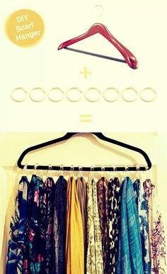 DIY scarf hanger (w/shower curtain rings)