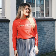 Lady Luck! #gutsgusto #fashion #ladyluck #red #sweater #skirt #model #photography #style #streetstyle #outfit #ootd #sunshine #blond #hair