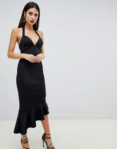 Buy ASOS DESIGN scuba halter pephem midi dress at ASOS. Get the latest trends with ASOS now. Scuba Dress, Black Midi Dress, Fitness Models, Asos, Bridesmaid, My Style, Shopping, Dresses, Design