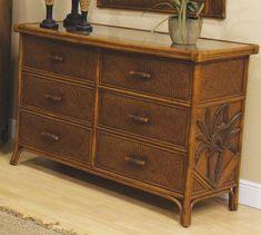 Hospitality Rattan 401-5300-TCA Cancun Palm Six Drawer Dresser
