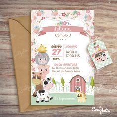 Cumple manu Farm Animal Birthday, Cowgirl Birthday, Farm Birthday, 3rd Birthday Parties, Birthday Party Decorations, Barnyard Party, Farm Party, Party Fiesta, Birthday Invitations