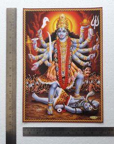"10""x14"" Poster - Maha Kaali Kali Durga Kali, Kali Mata, Shiva Hindu, Lion Poster, All Poster, Avatar Poster, Meditation Prayer, Mix Photo, Vintage India"