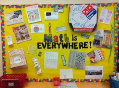 bulletin board showcasing everyday uses of Math.