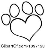 Clipart Outlined Heart Shaped Dog Paw Print
