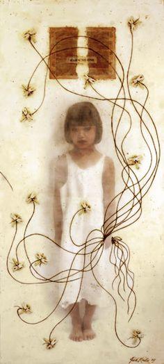 "Judith Kindler; Harm No One, 2007, 36""x80"", Mixed Media/Encaustic (Sarah) (sold)"