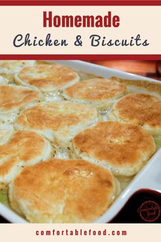 The best comfort food ever - Chicken and Biscuits. Preheat the oven to 375 F (190 C) and grease a 9x13 casserole dish. If you aren't using store bought, make these yeast biscuits - and while they are resting you can make the chicken gravy. In a heavy skillet over moderate heat, melt the butter and cook the onion and celery until softened, about 5 minutes - generously salt and pepper. Sprinkle over the flour and stir and cook for about 1 minute. Stir in the broth and thyme and bring to a b...