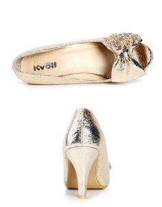 Designer Damen Schuhe,Peep Toe, Pumps,Gold,Kristalle,Schleife, UVP 29,90€