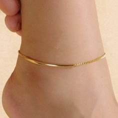 Anklet Jewelry Simple Solid Color Glazed Bent Tube Anklet For Women Ankle Jewelry, Cute Jewelry, Body Jewelry, Ankle Bracelets Gold, Gold Bracelet For Women, Beach Jewelry, Anklet Designs, Tatto Designs, Gold Anklet