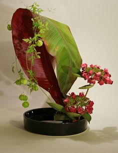 Moribana with banana leaf 788x1024 365 Days of Ikebana Day 112