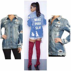 PREORDER Boutique Coat SML Light Oversize Distresse Wake Pray Slay Denim Jacket #Boutique #DenimJacket