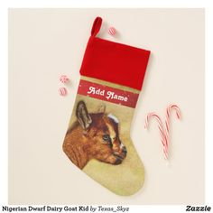 Nigerian Dwarf Dairy Goat Kid Christmas Stocking Kids Christmas Stockings, Nigerian Dwarf, Santa Claus Is Coming To Town, Christmas Animals, Christmas Card Holders, Goats, Dairy, Goat