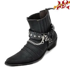 Rocker Fashion For Men | punk abc Rock MENS BLACK GOTH PUNK ROCK BAND BUCKLE BOOT style NO ...