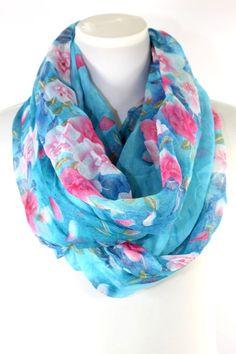 "B22 Flower Aqua Blue Green Infinity Scarf Crinkle Pattern Wide & Long 34"" #Custom #CowlInfinity"