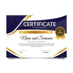 Modern Premium Business Certificate Of Achievement And Appreciation Certificate Of Recognition Template, Certificate Layout, Certificate Of Achievement Template, Certificate Design Template, Award Certificates, Card Templates, Graphic Design Trends, Web Design Inspiration, Cv Design
