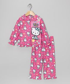 Take a look at this Hello Kitty Pink Hello Kitty Ruffle Button-Up Pajama Set - Toddler on zulily today!