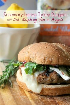 Rosemary-Lemon Turkey Burgers with Brie, Raspberry Jam  Arugula on @Cobblestone Bread Co.  . More ideas over at @Debrah Kitchen Daily