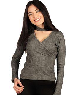 Bayan Bluz Derin V Yaka Zigzag Desenli | Modelleri ve Uygun Fiyat Avantajıyla | Modabenle
