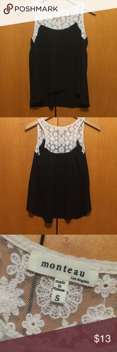 Monteau Mixed Media Top Cute sleeveless blouse. Shoulder portion is a cream colored lace and the bottom is a flowy black chiffon. Black portion is not thin or sheer. No flaws. Monteau Tops Blouses