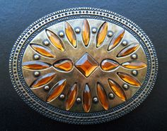 Brown Stones Flower Floral Western Belt Buckle Buckles