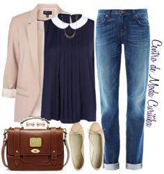 Casual mas arrumadinho. Calça boyfriend (estilo masculino) + blusa super feminina e romântica, sapatilhas e um blazer para dar um toque e sofisticação no visu!