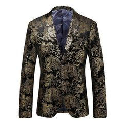 Aliexpress.com : Buy Party Fashion Notch Lapel Slim Fit Blazer Men Floral Gold Fancy Gorgeous Jaqueta Masculina from Reliable blazer slim fit suppliers on oscn7 Store