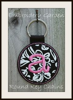 In the Hoop Monogram Round Key Chain Machine Embroidery Design Files Instant Download