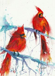 """""""Birds of a Feather"""" original watercolor painting of 2 lovely red cardinals on a winter branch. Watercolor Paintings, Original Paintings, Watercolors, Cardinal Birds, Bird Feathers, Cardinals, Fine Art America, Wall Art, Acrylics"""