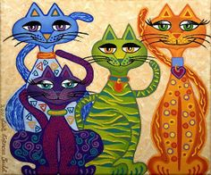 Colourful Cats. Saved by monkeetree.com