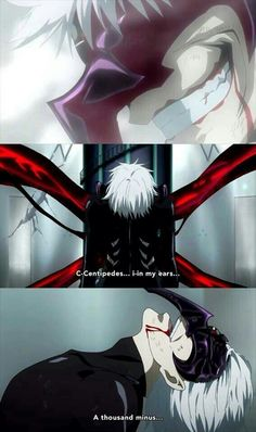 C-centipedes..., in my ears..., a thousand minus..., Kaneki Ken, white hair, kakuja, centipede, mask, torture, comic, text, quote; Tokyo Ghoul