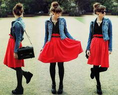 denim jacket and red skirt. Make me think of Jess from New Girl!