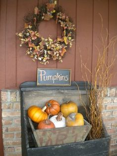 Fall Thyme...old wooden bin filled with pumpkins...sign & dried wreath.