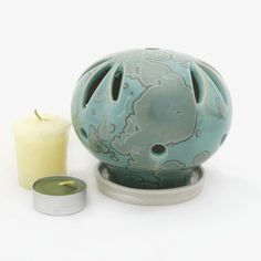 Green Round Shaped Ceramic Candle Holder Crystal by SunbirdPottery