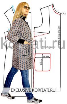 Выкройка легкого пальто в стиле кэжуал. Яркое легкое пальто без воротника…