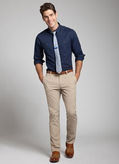Khaki Pants Outfit Men except with Orange Tie Khaki Pants Outfit, Mens Dress Pants, Blue Shirt Outfit Men, Men's Pants, Dress Shirts, Men Dress, Beige Hose, Beige Chinos, Brown Chinos