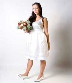 White Satin short wedding or party dress M/L by TheTrousseau,