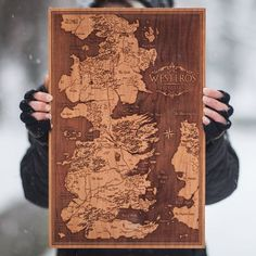 Winter is Here! As promised, here is an incredibly detailed map of Westeros and the Free Cities. This ends the Game of Thrones series. Westeros Map, Game Of Thrones Westeros, Game Of Thrones Series, Game Of Thrones Decor, Game Of Thrones Birthday, Wooden Map, Wooden Toys, Wood Images, Wood