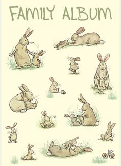 Rabbit Family Album CARD: Gifts and cards for rabbit owners and bunny lovers by Anita Jeram Bunny Art, Cute Bunny, Illustrations, Children's Book Illustration, Cute Drawings, Animal Drawings, Lapin Art, Anita Jeram, Photo Images