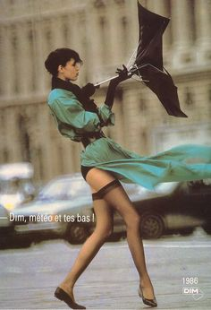 Ad for DIM French stockings  (tr: Dim, the weather forecast, and your stockings)