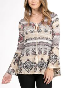 Loving this Ivory Geometric Bell-Sleeve Tunic on #zulily! #zulilyfinds