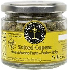 Ritrovo Selections Salted Capers from Marino Farm-Ferla-Sicily. Wild-harvested capers in sea salt packed in a glass jar. Balsamic Vinegar Of Modena, Natural Spice, Italian Spices, Truffle Oil, Best Appetizers, Drying Herbs, Baking Ingredients, Fresh Herbs, Sicily