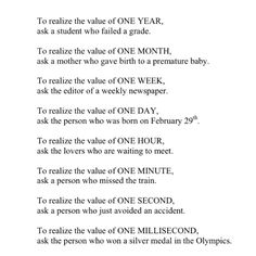 Know the value of time...